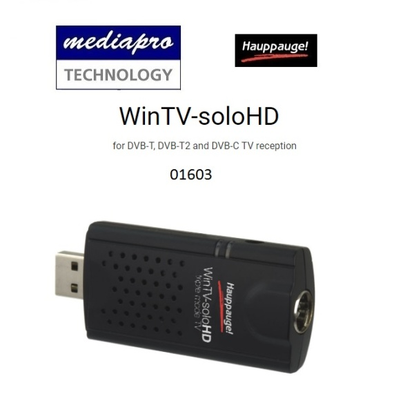 Hauppauge WinTV-soloHD 01603 triple mode TV Tuner For Freeview HD (DVB-T2), Freeview (DVB-T) and DVB-C digital TV - 1 year local distributor warranty