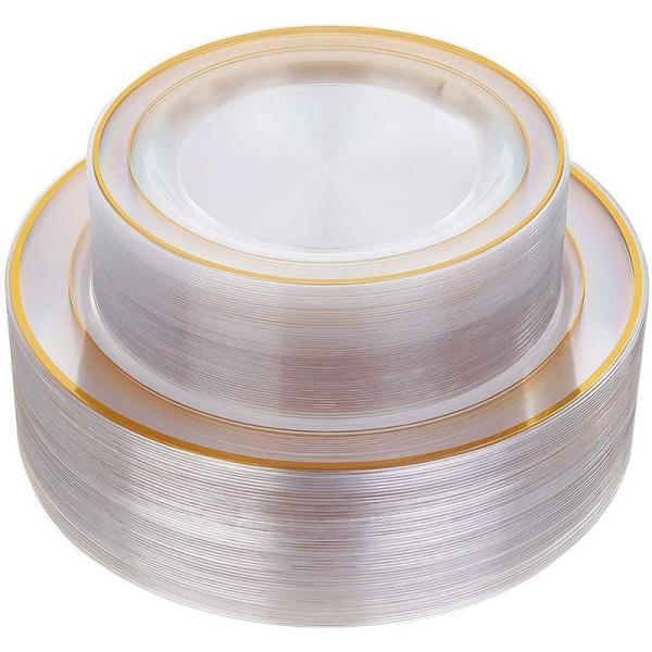 Mua Gold Plastic Plates 60 Pieces, Disposable Wedding Plates, Plastic Party Plates Includes: 30 Dinner Plates 10.25 Inch and 30 Salad/Dessert Plates 7.5 Inch (Gold)
