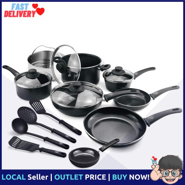 GreenLife Soft Grip 16 Piece Ceramic Non-Stick Cookware Set, Black Singapore
