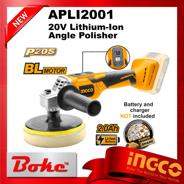 [Ready Stock] INGCO APLI2001 20V Lithium-Ion Angle Polisher 150mm