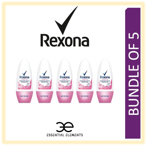 Buy REXONA [BUNDLE OF 5] WOMEN POWDER DRY ROLL ON ANTIPERSPIRANT DEODORANT 50ML| 48 HOURS SWEAT AND ODOUR PROTECTION Singapore