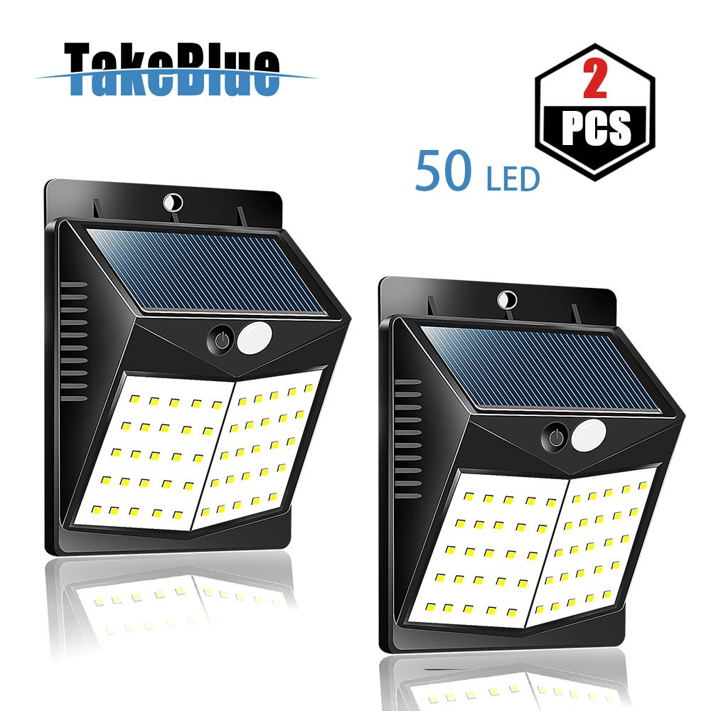 TakeBlue 50 LED Outdoor Lighting LED Solar Wall Light Waterproof Motion Sensor Light Wireless Solar Powered Wall Lamp Outside Security Night Light for Driveway Patio Garden Path 2 Pack