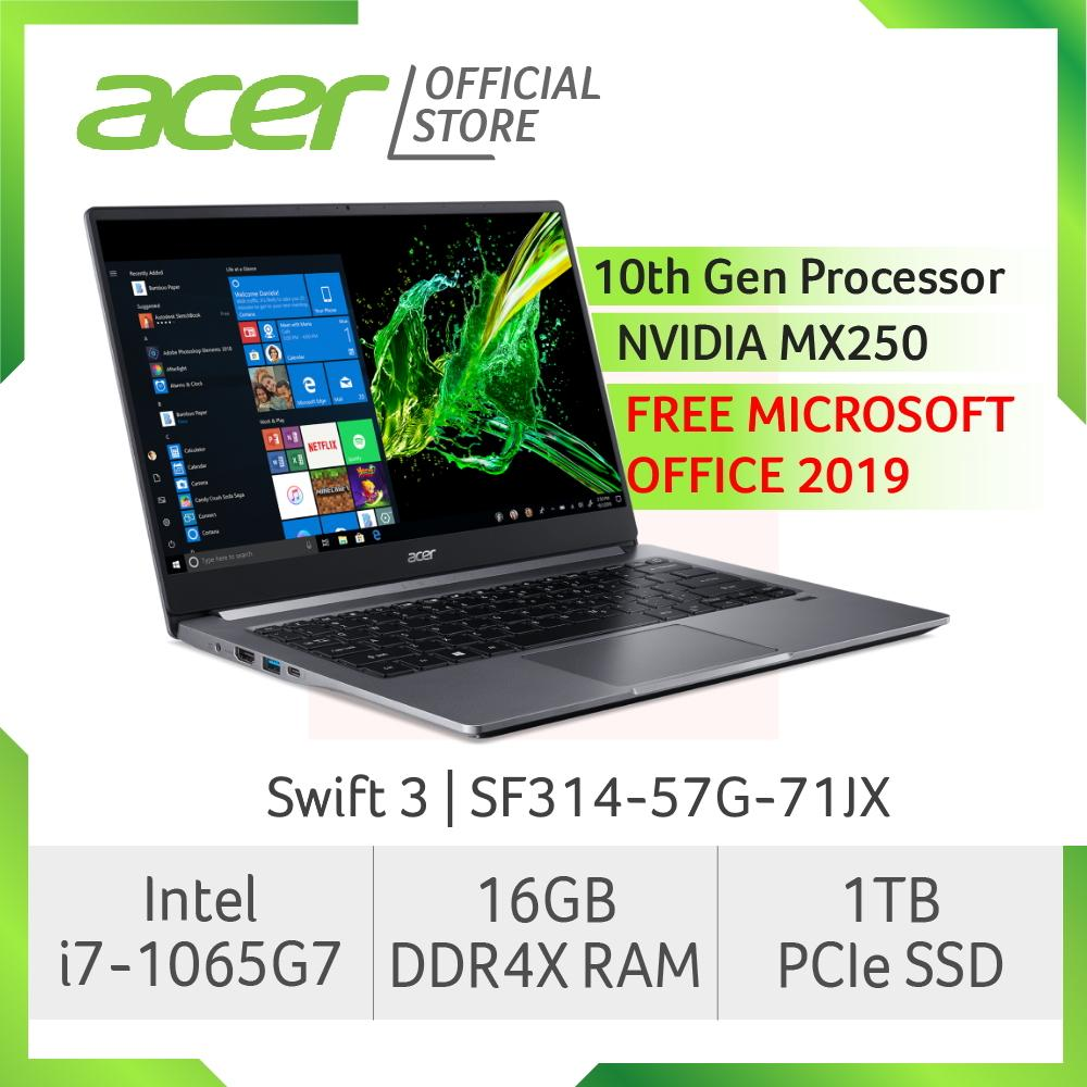 [Pre-Order] Acer Swift 3 SF314-57G-71JX(Grey) NEW Thin and light laptop with LATEST 10th gen Intel i7-1065G7 (Free MS Office Home & Student 2019) (Ship out mid to end apr)