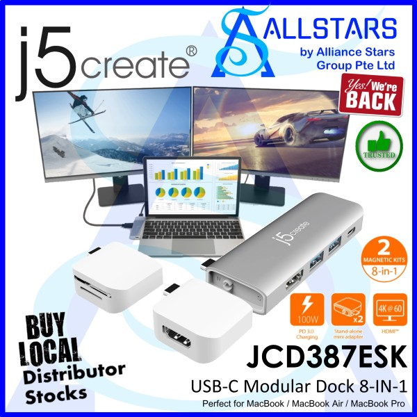(ALLSTARS : We are Back / PROMO) J5Create JCD387ESK UltraDrive Kit USB-C Modular Dock 8-in-1 (4K HDMI + GBE LAN + USB3.1 Type-C x1 PD 100W, Type-A x2 + Card Reader) (Perfect for MacBook / MacBook Air / MacBook Pro) (Warranty 2years with DigitalHUB)