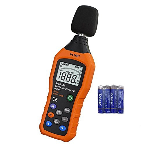 VLIKE LCD Digital Audio Decibel Meter Sound Level Meter Noise Level Meter Sound Monitor dB Meter Noise Measurement Measuring 30 dB to 130 dB MAX Data Hold Function A/C Mode