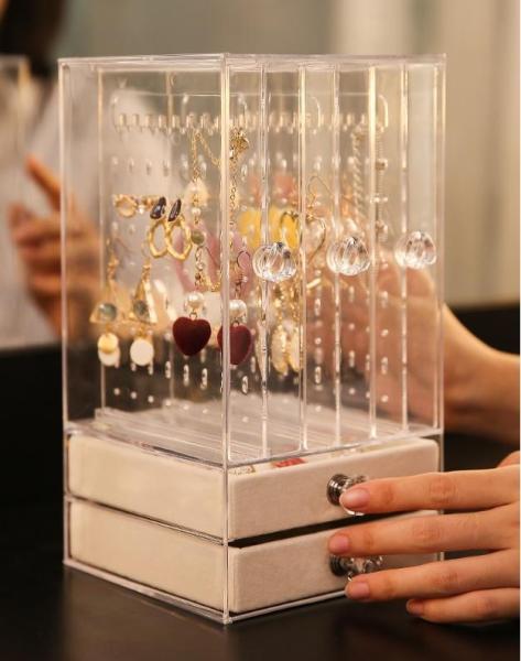 Jewelry display frame hanging eardrop earrings necklace jewelry bracelet  acrylic transparent box dust proof