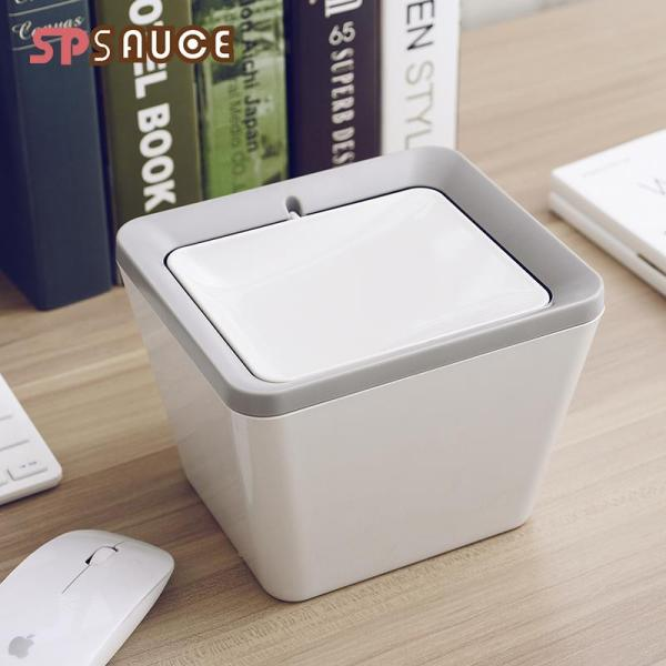 Creative Office Desktop Trash Bin Home Living Room Bedroom Kitchen Small Trash Can Table Rolling Cover Storage Bucket