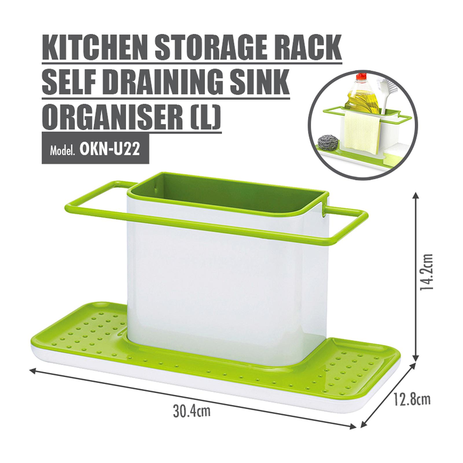HOUZE Kitchen Storage Rack Self Draining Sink Organiser (Large)