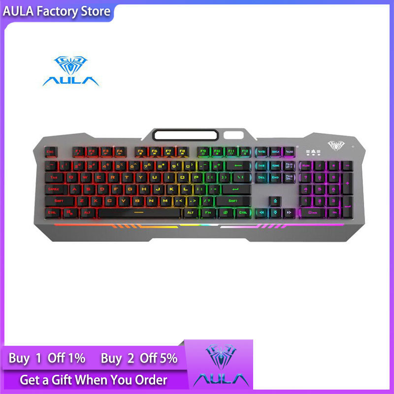AULA factory store F3010 gaming wired keyboard mobile phone placement and 26-key anti-ghosting desktop laptop 3 free adjustment modes Singapore