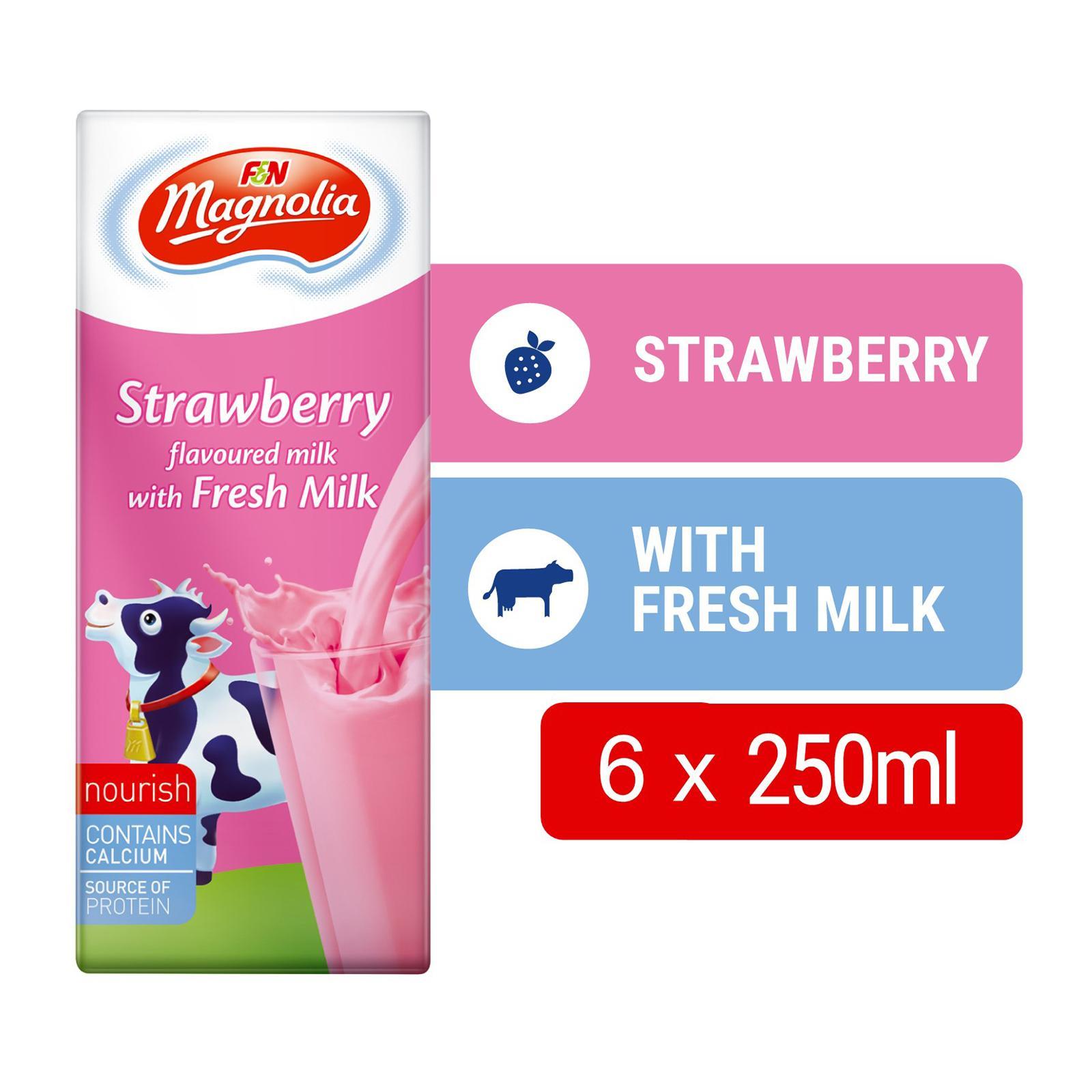 F&N Magnolia Full Cream Milk Strawberry UHT Milk Packet Drink