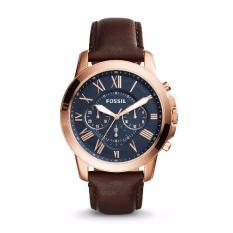Discount Fossil Grant Chronograph Blue Dial Brown Leather Men S Quartz Watch Fs5068 Singapore