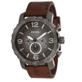 Best Buy Fossil Jr1424 Nate Brown Leather Chronograph Analog Men S Casual Watch