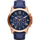 Fossil Men S Grant Chronograph Navy Leather Watch Fs4835 Coupon Code