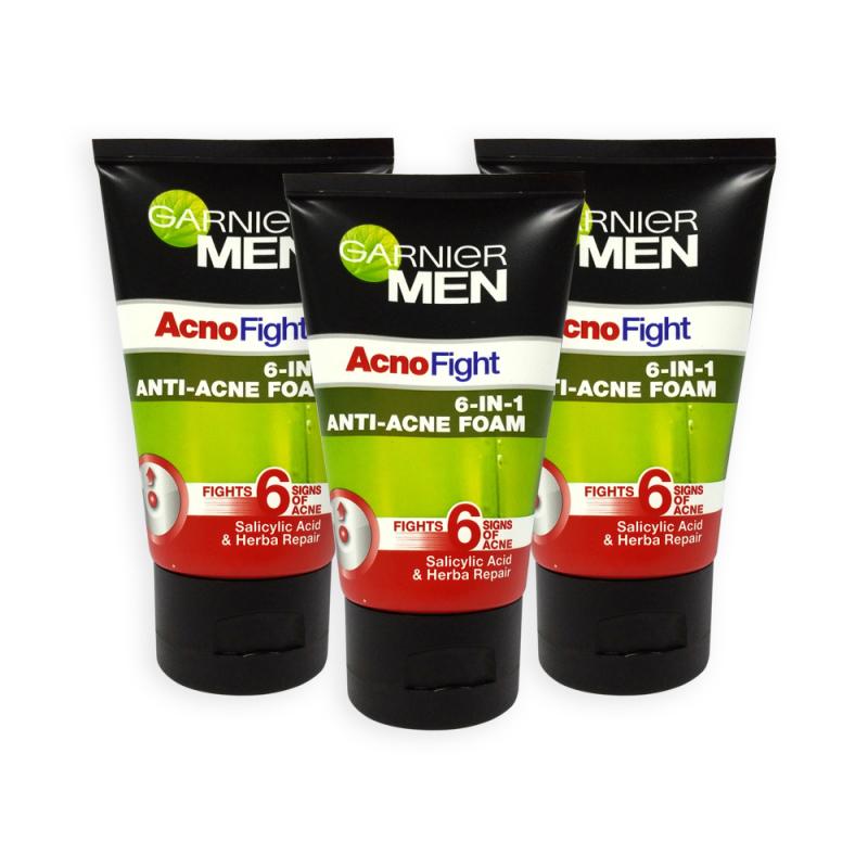 Buy (Pack of 3) GARNIER MEN Acno Fight 6 in 1 Anti Acne Foam Cleanser 100ml - 5298 Singapore