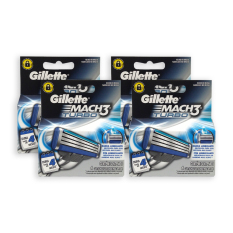 Retail Pack Of 4 Boxes Gillette Mach 3 Turbo 4 Cartridges 4917