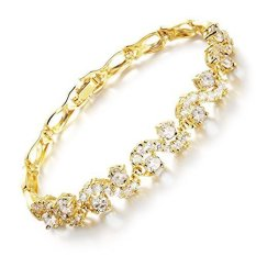 The Cheapest G*rl Era 18K Gold Waves Sapphire Bracelet Diamond Cut Accent Tennis Bracelet Export Online