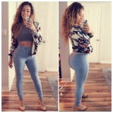 High Waist Jeans Women Knee Skinny Pencil Pants Lowest Price