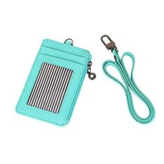 Buy Id Window Card Holder Leather Wallet Lanyard Strap Zip Pocket For Bill Coin Credit Card Mint Cheap On Singapore