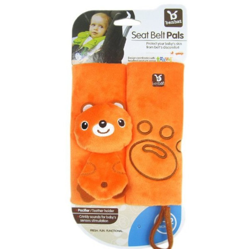 ilovebaby Baby Car Stroller Shoulder Pad Seat Belt Strap Cover with Pacifier Teether Holder (Orange) Singapore