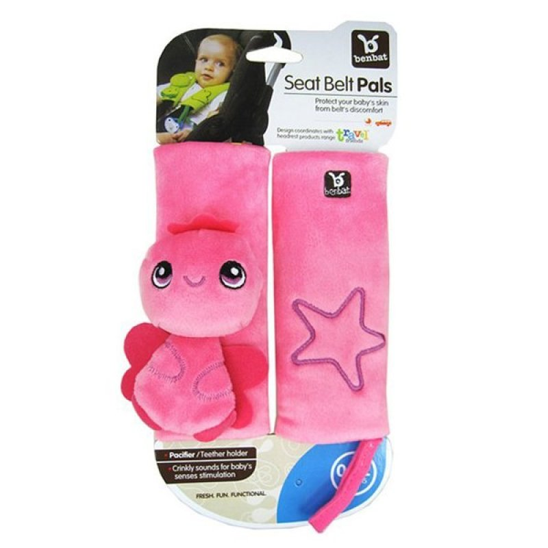 ilovebaby Baby Car Stroller Shoulder Pad Seat Belt Strap Cover with Pacifier Teether Holder (Pink) Singapore