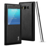 New Imak Leather Window Flip Case Tempered Glass Screen Protector For Samsung Galaxy A5 2015