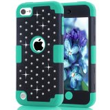 Ipod Touch 5 Case Ipod Touch 6 Case Studded Diamond Hybrid Crystal Rhinestone Case Bling Silicone Skin Bumper Case For Apple Ipod Touch 5 6Th Black Green Export Deal