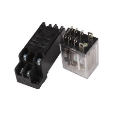 JOR DC12V Voltage 2 Way Coil Power 2NO 2NC Relay and Socket Base Black(Export)