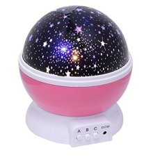 New Kids Bedroom Bed Lamp Rotating Night Light Projector Pink