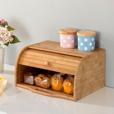 Sale Korean Bamboo Wooden Bread Box Pastries Cafe Storage Dining Room Furniture Natural Scandinavian Singapore Cheap