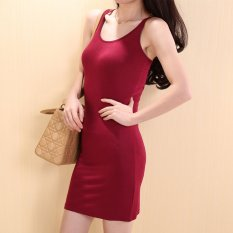 New Ladies Summer Bottoming Sleeveless Sling Strap Dress Beach Maxi Mini Dress Red