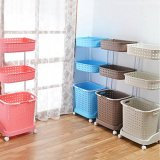 Sale Laundry Basket With Wheels 3 Tier Blue On Singapore