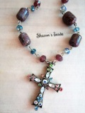 Who Sells Laurentis Flameworked Moretti Glass Bead Crystal Necklace With Crystal Enrusted Christian Cross By Shawn S Beads The Cheapest