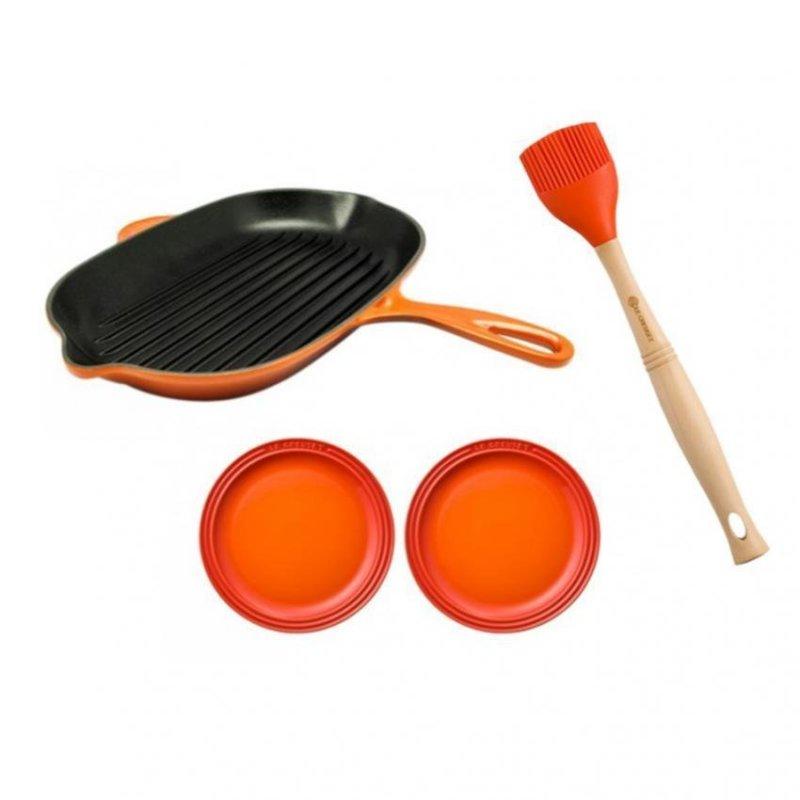 Le Creuset Cast Iron Oval Skillet Grill 32cm Essential Set - Online Exclusive Singapore
