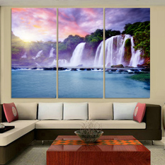 Luxry 3 Panel Waterfall Painting Canvas Wall Art Picture Home Decoration Living Room Canvas Print Painting--Large Canvas Art Unf (No frame)