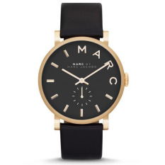 Brand New Marc By Marc Jacobs Ladies Black Leather Strap Baker Watch Mbm1269