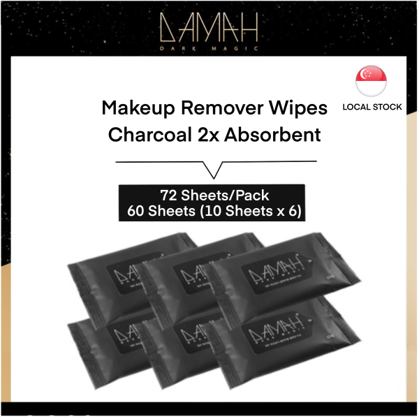 Buy [Official Store|Local Stock] Korea DAMAH Black Magic Makeup Remover Charcoal Face Cleansing Wipes (Two Size: 72 Sheets/10 Sheets*6 Packs) Travel Size Singapore