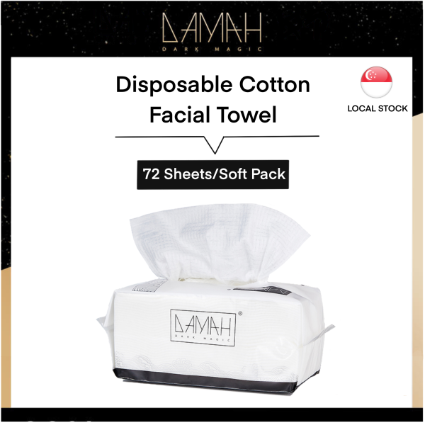 Buy [Made in Korea] DAMAH Facial Towel (100% Cotton Tissue) Disposable Facial Cleansing Tissue Makeup Remover, Dry and Wet Use, Tissue For Sensitive Skin and Baby Singapore