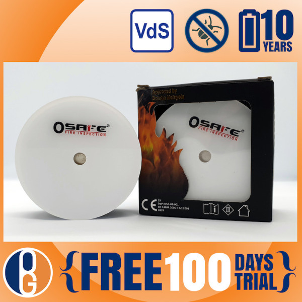 100 Days Trial | SCDF Approved Photoelectric Smoke Alarm / HFAD | 10 Years Lithium Battery Warranty