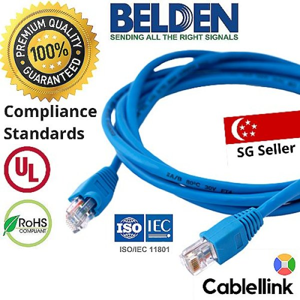 CAT6 Belden LAN Cable - 8m/10/12/15/18/20/22/25/28/30/35/40/45/50m - Ethernet Network Cable For Modem / Routers / Printer / LAN Cable / PC / Laptop / MAC / Security Camera