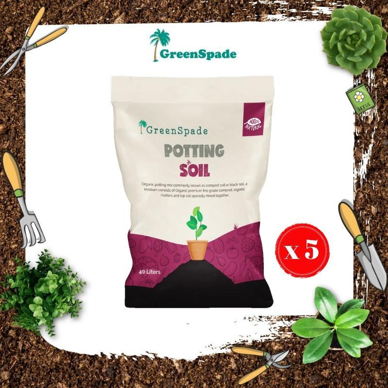 [BUNDLE] Green Spade Organic Potting Soil 40L x 5 PCS (Approx. 20kg each)