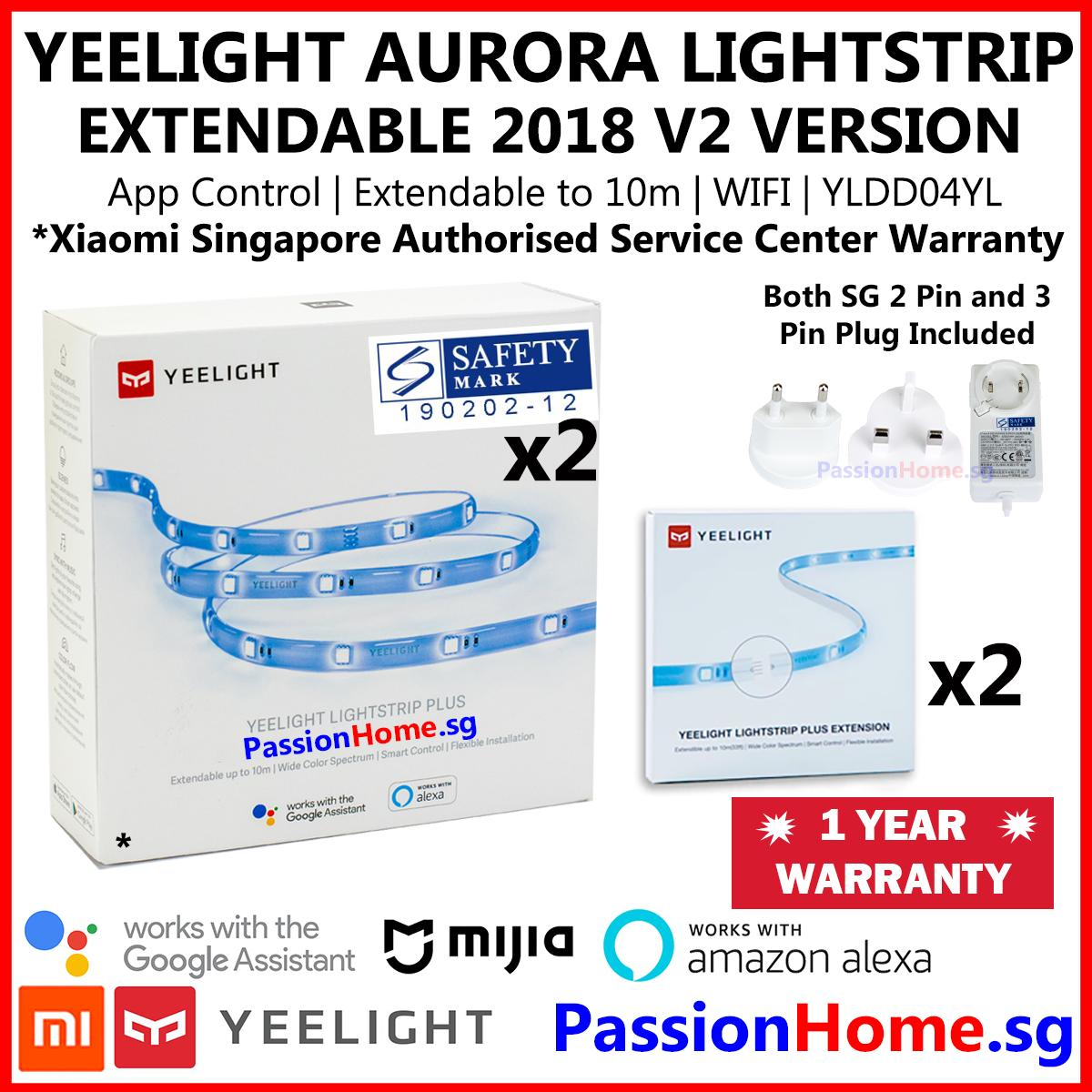 Yeelight Aurora Lightstrip Plus 2018 v2 - 2xStarter + 2x 1m Extension Bundle - WIFI LED Light Strip Meter Colour White - Xiaomi Mijia Smart Home Automation - (Works with Google Home Assistant Alexa Echo) - Mi Home / Yeelight App - Philips Hue Alternative