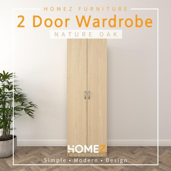 (Free Delivery & Installation) Homez 2 Door Wardrobe Solid Board with Large Hanging Space  HMZ-WD-DT-6000- 2 ft