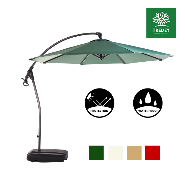 TREDEY 3M Patio Garden Umbrella Outdoor Market Table Round Umbrella with Crank and Push Handle For Garden,Pool,Market,Patio(NO BASE)