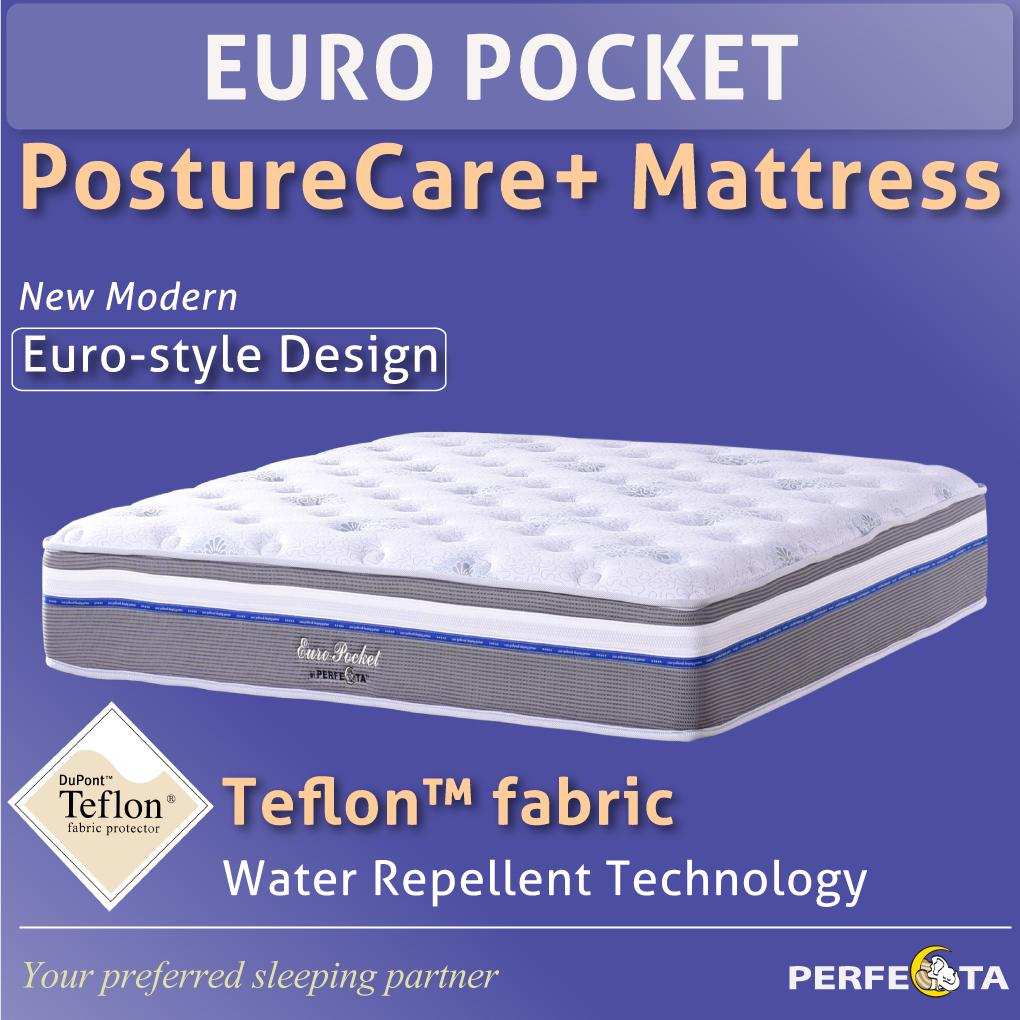 Perfect Euro Pocket Posture Care Plus Mattress * 5 Zone Individually Pocketed Spring * Teflon Fabric * Water repellent technology