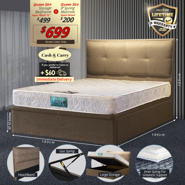 Storage Bedframe + 8 Spring Mattress