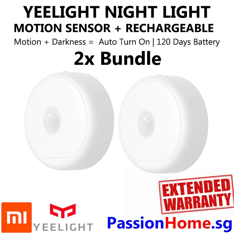 2x Bundle Yeelight Smart Rechargeable Motion Activated LED Nightlight IR Sensor - Plug and Play Night Light - Mi Infra Red Body and Light Sensitive Sensor - USB Power Recharge - Battery lasts 120 Days - Xiaomi Mijia Smart Home Automation - Passion Home