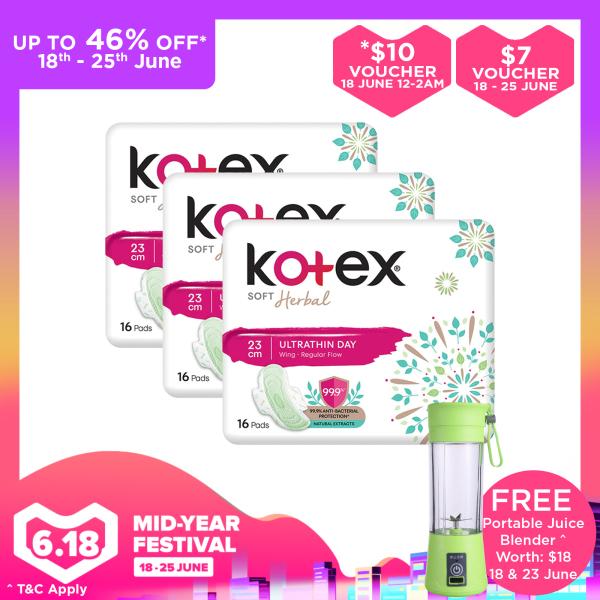 Buy Kotex Soft Herbal Anti-Bacteria Ultrathin Day Wing Pads 23cm x 3 Singapore