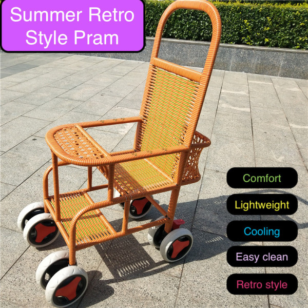 Summer Rattan Retro Old Style Simple Lightweight Compact Children Kid Toddler Portable Waterproof Carriage Girl Boy High Kampong Ah-ma Chair Seat Straw Pram Stroller Singapore