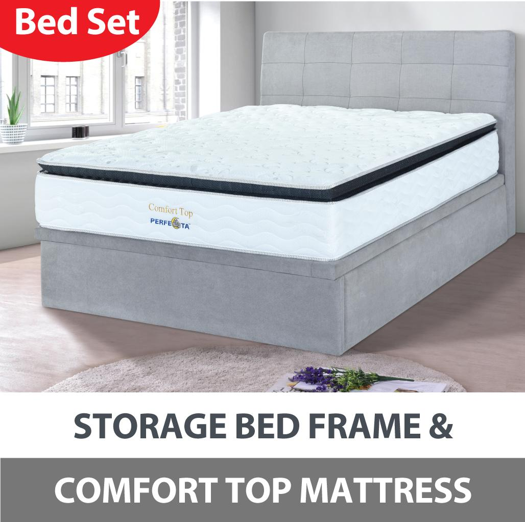 Comfort Top Mattress with Storage Bed Frame * Free Assembly and Delivery * Light Grey Fabric Bed Frame * 12 inch Pocket Spring mattress