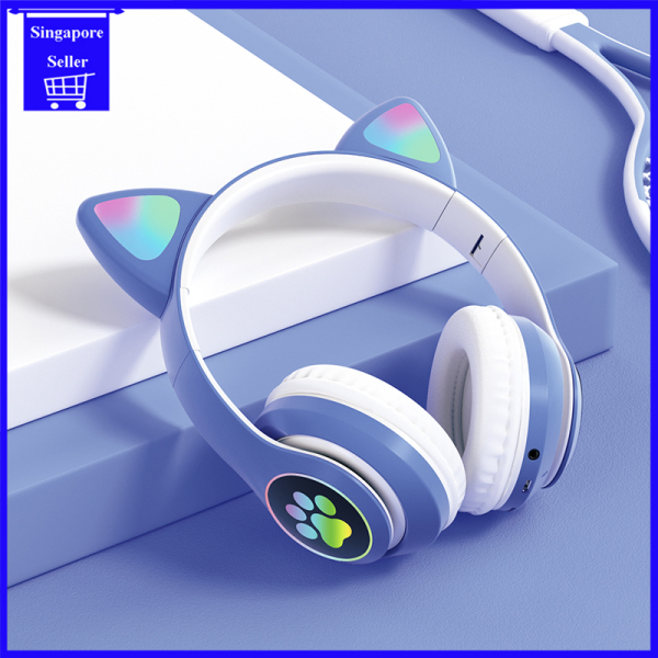 Cute LED Cat Ear Macarons Color Wireless Bluetooth Headset Music Party Over-Ear Headphones Stereo Sound Built-in Microphone Support TF Card & Aux for Kids Online Learning Noise Cancelling Headphones Bluetooth Headset with Microphone for Phones Singapore